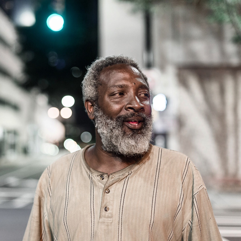 Photo of homeless man smiling